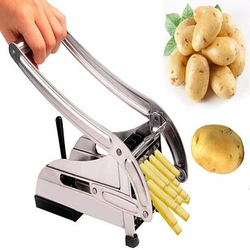 Stainless Steel Homestyle French Fries Potato Chips Strip Cutter Machine with 2 Blades