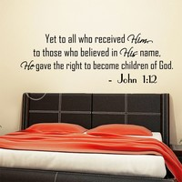 Wall Decals Quotes Bible Verse Psalm John 1:12 Yet To All Who Lord God Quote Vinyl Sticker Living Room Bedroom Decal Home Decor DA3649