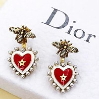 Dior New fashion pearl bee love heart long earring