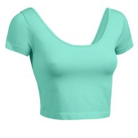 RubyK Womens Fitted Short Sleeve Crop Top with Stretch
