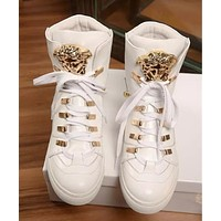 Versace Popular Women Men Personality Leather Rivet High Top Inner Heighten Shoes Sneakers White I13175-1