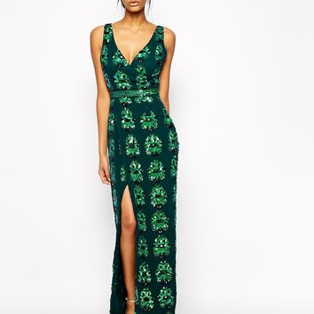 Virgos Lounge Flavia Allover Embellished Maxi Dress With Thigh Split