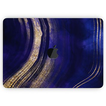 """Vivid Agate Vein Slice Blue V2 - Skin Decal Wrap Kit Compatible with the Apple MacBook Pro, Pro with Touch Bar or Air (11"""", 12"""", 13"""", 15"""" & 16"""" - All Versions Available)"""
