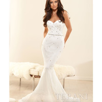 Terani 2014 Prom Dresses - Ivory Crystal Formfitting Mermaid Silhouette Prom Gown