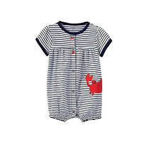 Carter's Striped Crab Creeper in Navy White with Happy Red Crab Applique - Baby Girl (Newborn)