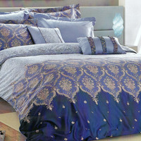 Moroccan Dorm Bedding in Damask Print, Navy, Baby Blue, Beige for Twin - Twin XL – 4-pcs Set of Duvet Cover, Flat Sheet, Sham & Pillow Case