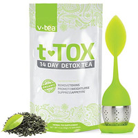 v tea 14 Day Detox Tea: Mint Teatox Cleanse for Natural Weight Loss. Reduce Bloating. Appetite Suppressant. 100% Organic. Includes Silicone Infuser.