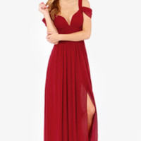 Bariano Ocean of Elegance Wine Red Maxi Dress