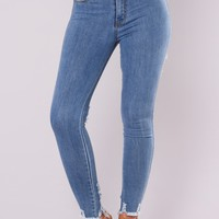 Hollywood Cutout Jeans - Medium Blue