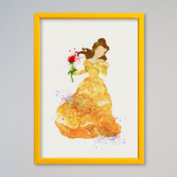 Belle Princess Belle FRAMED Watercolor print Disney Watercolor Beauty and the Beast watercolor poster Kids art Wall art Nursery