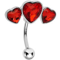 Top Mount Ruby Red Gem Triple Heart Belly Ring | Body Candy Body Jewelry
