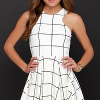 Reality Check Black and Cream Grid Print Dress