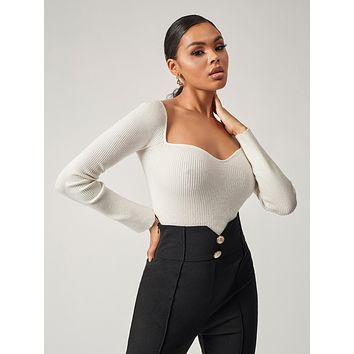 SHEIN Rib-knit Sweetheart Neck Sweater