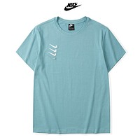NIKE New fashion embroidery hook couple top t-shirt Lake Blue