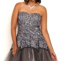 Plus Size Sequin Short Tulip Homecoming Dress with Exposed Crinoline