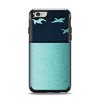 The Abstract Swirled Two Toned Green with Birds Apple iPhone 6 Otterbox Symmetry Case Skin Set
