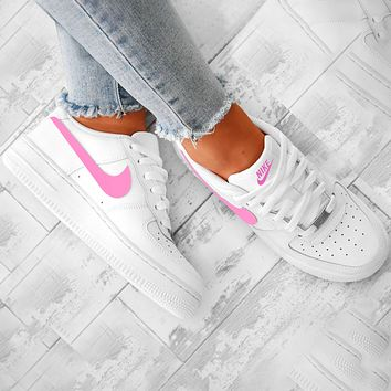 elainse29 Nike Air Froce one 1 Classic Trending Perfect Breathable Shoes Sneakers Pink Hook