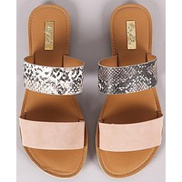 Double Band Slip On Sandals - Snake Skin Print