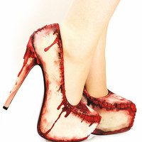 Zombie flesh blood and stitches platform heels by NixxiRose