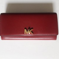 New Michael Kors Mott Large Carryall Smooth Leather Wallet Mulberry NWT $148