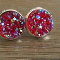 Druzy earrings- Ab Red drusy silver tone stud druzy earrings