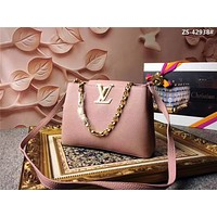LV Louis Vuitton TAURILLON LEATHER CAPUCINES CHAIN HANDBAG SHOULDER BAG