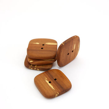 Large square buttons - Handmade applewood buttons - 1.2in (30mm) - Set of 5 natural wood buttons