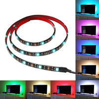 SROCKER A3 1 Meter LED TV Backlight Kit USB Multi-color RGB Home Theater Background Accent lighting Waterproof Strip Lights for HDTV, Computer and Aquarium with RF Remote Control