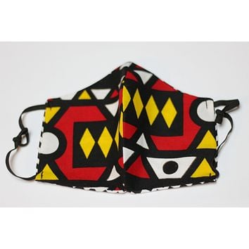 African Print Face Mask - Red /White/Yellow Tribal Print