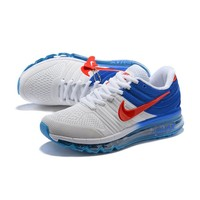 Nike Air Max 2017 White Royal Red KPU Drop Plastic Upper Men Running Shoes - Best Deal Online