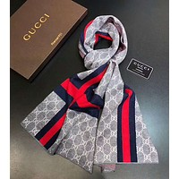 Bunchsun GUCCI winter tide brand men's cashmere knit long scarf Grey