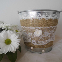 Flower girl basket bucket rustic wedding shabby chic wedding accessory here comes the bride