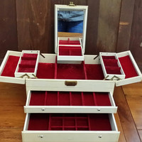 Vintage Large White Faux Leather Jewelry Box with Mirror Red Velvet Lining Great For Jewelry Storage and Display