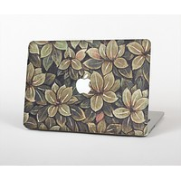 The Vintage Green Pastel Flower pattern Skin Set for the Apple MacBook Pro 15""
