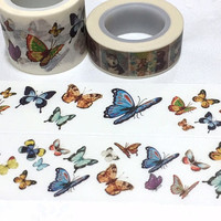 5M x 3cm Butterfly washi tape dancing butterfly sticker tape rare butterfly colorful butterfly collection wide masking tape butterfly decor