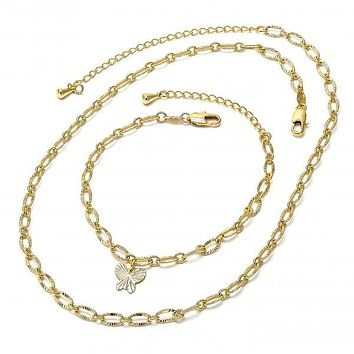 Gold Layered 04.63.0199 Necklace and Bracelet, Butterfly Design, Diamond Cutting Finish, Golden Tone