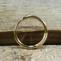 Conch Piercing Hoop Earring Illusions Gold with Gold Wrap 12 Gauge Single