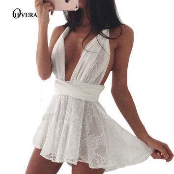New arrival summer womens playsuits 2017 white lace halter v neck sleeveless jumpsuit one piece rompers lovely women bodysuit