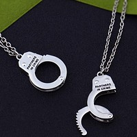 Partners In Crime Handcuff Necklaces (2Pc Set)