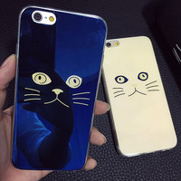 Original Laser Reflection Cat Face iPhone 5s 6 6s Plus creative case Gift-107
