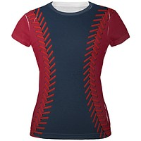 Baseball League Navy Blue and Scarlet All Over Juniors T Shirt