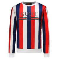 GUCCI 2018 autumn and winter new double G letter printing red and green striped head round neck long sleeve sweater