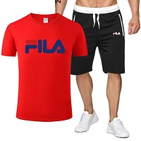 FILA New fashion letter print top and shorts two piece suit men Red