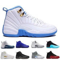 2017 air retro 12 12s men Basketball Shoes flu game wolf grey University blue Black Nylon ovo white taxi Varsity Red Sports Sneakers