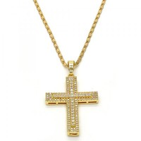 Gold Layered 04.165.0006.20 Pendant Necklace, Cross Design, with White Cubic Zirconia, Polished Finish, Golden Tone