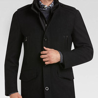 PRONTO UOMO BLACK TWILL SLIM FIT COAT