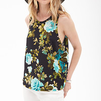 FOREVER 21 Watercolor Floral Print Tank Black/Teal