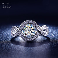 Wedding engagement rings for women CZ diamond-jewelry white gold plated jewelry fashion bague luxury retro  anillos   DD198
