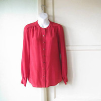 Gorgeous Red Silk Long-Sleeve Blouse; Women's XS-Small Drapy Red Career/Social Top; U.S. Shipping Included
