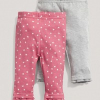 Baby Girl Mix And Match Two Pack Of Red Printed Leggings
